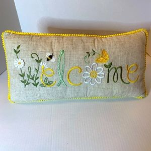 Welcome Pillow Beige with Yellow Ball Trim